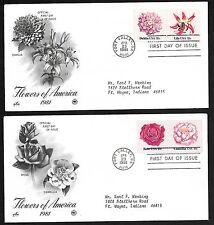 #1876-79  18c Flowers Set of 4 on 2 ArtCraft/PCS FDCs
