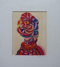 HELENE HILAIRE (XXème) COMPOSITION ABSTRAITE GOUACHE SUR CARTON DATEE 1970