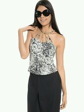 Floral Print Open Chain Top
