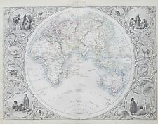 c1854 EASTERN HEMISPHERE WORLD Genuine Antique Map by Rapkin FREE P&P WORLDWIDE