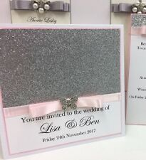 Personalised Glitter Butterfly Wedding Invitations Pocketfolds- Any Colour