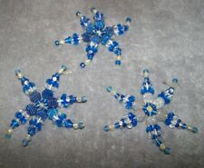 LOT OF 3 HOMEMADE BLUE WHITE BEADED SNOWFLAKE ORNAMENTS