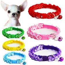 6PCS Lot Wholesale Dog Collar W/ Bell Pet Cat Adjustable Nylon Buckle Cute Gift