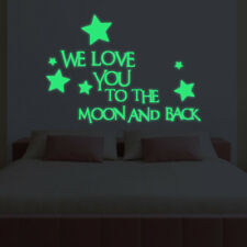 We Love You To The Moon And Back Star Glow in the Dark Luminous Wall Sticker NEW