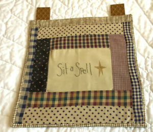 Country Quilt Wall Hanging, Patchwork Rectangles, Embroidered Center Sit A Spell