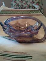 Vintage Art Glass Bowl Centerpiece Hand Blown Orange, blue, white