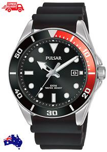 Pulsar New Mens Black Red Stainless Steel Analogue Quartz Wrist Watch PG8297X