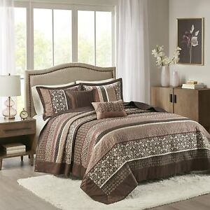 BEAUTIFUL XXXL LARGE RED BROWN GREY TAUPE LEAF CABIN LODGE FLOOR BEDSPREAD SET