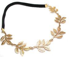 Metallic Sweet Lady Golden Leaf Flower Elastic Hair Band Headband