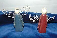 Wooden Angel Folk Art Figurines Set of 2 Shabby Chic Wire Wings Halos Hangers