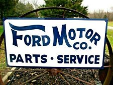 """Hand Painted Antique Vintage Old Style FORD MOTOR CO Parts Service 18""""x36"""" Sign"""