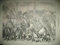 INDE FETE MOHARRUM ELEPHANTS BANIANS COMPIEGNE CHASSE LEVRIERS U.K. GRAVURE 1857