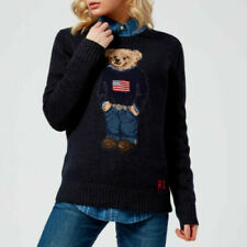 $398 Ralph Lauren 50th Anniversary Iconic Polo Bear Flag Wool Crew Neck Sweater