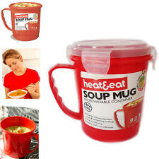Soup Mug Microwave BPA Free Plastic Microwavable Cup Camping Heat Hot Food 0.7L