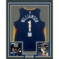 FRAMED Autographed/Signed ZION WILLIAMSON 33x42 New Orleans Blue Jersey PSA COA