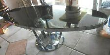 Modern Contemporary Silver Chrome Oval Surfboard Ring Base Mirrored Coffee Table