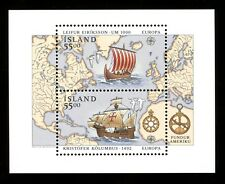 1992 Iceland Souvenir Sheet of 2 Scott #751 MNH - Map and Ships - VF