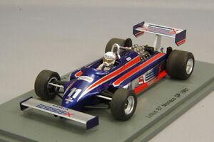 SPARK S5350 1:43 Lotus 87 1981 F1 Monaco GP #11 E.d.Angelis Kidbox
