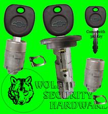 Chevy OEM Ignition Key Switch Lock Cylinder & Door Lock Tumbler Pair Set 3 Keys