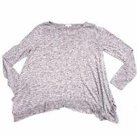 Umgee Womens Flared Knit Tunic Top Sweater Drape Heathered Large