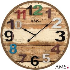 AMS 48 XXL Wall Clock Quartz Watch Brown Round Antique Vintage Retro Shabby Ø