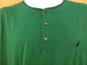 Nautica Sleepwear Shirt~3 Button Front~Green (Cosmic Fern)~Navy Trim~Size M~NWT