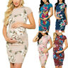 Women Maternity Party Floral Print Short Sleeve Bodycon Dress Pregnancy Clothes