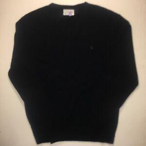 Vintage Christian Dior Monsieur Black V Neck Knit Pullover Sweater Spellout XL