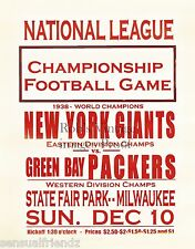New York Giants Green Bay Packer Football Game poster 1939 NFL Man Cave 13x19