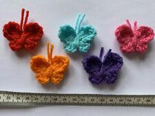 5 X Handmade Crochet Bright Rainbow Butterfly Applique, Motif, Embellishment