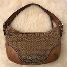COACH Hobo Handbag Purse - Khaki Tan Signature Mini C Jacquard Canvas  - $295.00