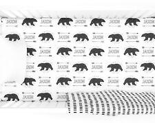 Personalized Black Bear Fitted Crib Sheet Customized Woodland Nursery Crib Decor