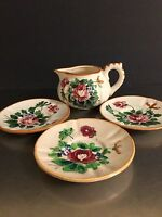 Morikin Ware Occupied Japan Vintage Creamer 3 Saucers Hand Painted Floral China