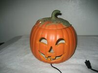 Vintage Halloween Pumpkin Head electric Lamp lighted jack-o-lantern ceramic
