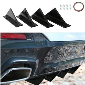 Triangle Style Universal Black Rear Bumper Lower Diffuser Fin Rear Lip Spoiler