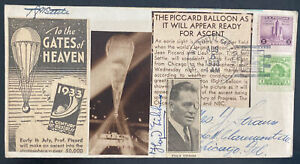 1933 Chicago iL USA Picard Balloon Stratosphere Flight Airmail Cover