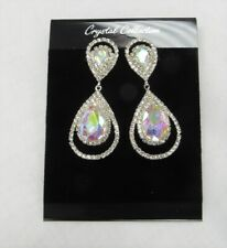 Silver Iridescent Rhinestone Crystal Dangle Earrings Wedding Prom Pageant # 6649