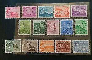 MAURITIUS 1953 QE II 2c to R10 SG 293 - 306 Sc 251 - 265 pictorial set 15 MNH