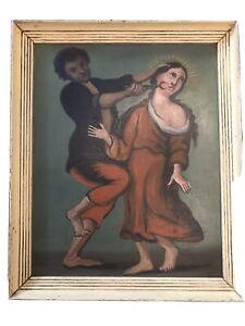 """""""Santa Apolonia""""  Religious Retablo Oil In Tin Mexican Folk Art"""
