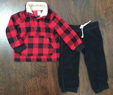 Carters Boys 2T Jacket Sweats Set Red Plaid Fleece Half Button Sweater