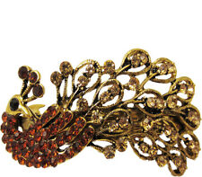 Bronze & Gold Crystal Peacock Antique Gold Metal Hair Accessory Barrette Clip