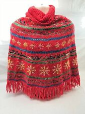 Handmade Poncho From Uruguay Pure New Wool Red Youth Large