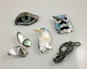 Sea Abalone Shell Paua Shell Brooch Owl Bird Butterfly Cat & Eye