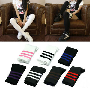 Long Stocking Striped Knee Socks Women Cotton Thigh High Over The Knee Stockings
