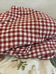 Ralph Lauren COLD SPRING Red Cream Checked Gingham Flat Sheet Only
