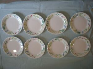 """Corelle """"MY GARDEN"""" SALAD PLATES Wild Flowers Forget-Me-Nots 7.25"""" - lot of 8"""