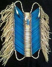 Blue & White Buffalo Bone 40 row Breastplate with Abalone & Ermine Tails