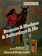 1981 Benson & Hedges Cigarettes Woman Walking Horse Vintage Color Photo Print Ad