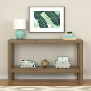 Mainstays Parsons Console Table, Rustic Oak coffee table, wood shelves