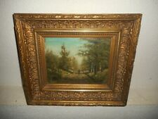 Antique oil painting, { Woodscape with a man walking, is signed, great  frame! }